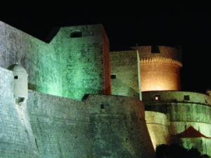 Dubrovnik fortress at night